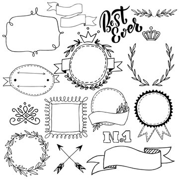 Vector illustration, collection of hand drawn badges and design elements