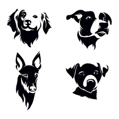 Dog Head Silhouette Set