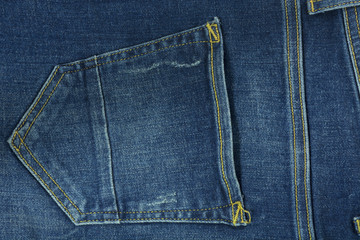 Pocket jeans texture closeup. Textyle background