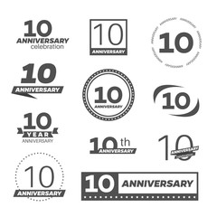 Ten years anniversary celebration logotype. 10th anniversary logo collection.