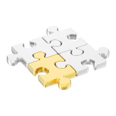 3D illustration isolated group of different gold puzzles