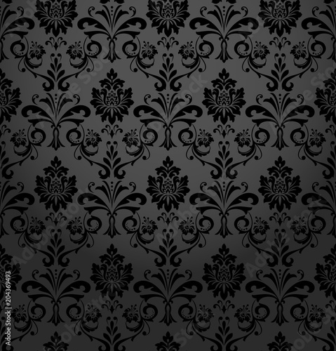 Vintage Wallpaper In The Baroque Style Seamless Vector Background Black Ornament