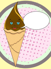 Ice cream cone with face, smile on pop art background. An imitation comic book. vector text bubble