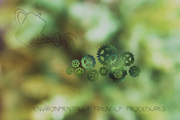 watering can and gearwheels going green, ecology concept