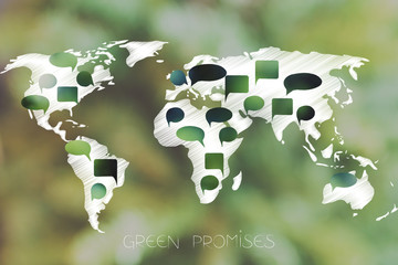 world map with green speech bubbles representing environmentally friendly policies and initiative