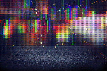 Futuristic retro background of the 80`s retro style. Digital or Cyber Surface. neon lights and geometric pattern