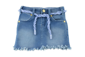 Fashionable blue jeans skirt for children.