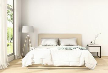 3D rendering of interior modern bedroom. . Minimalism. 3d render.