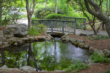Peaceful Japanese Garden with a wooden bridge and pond.