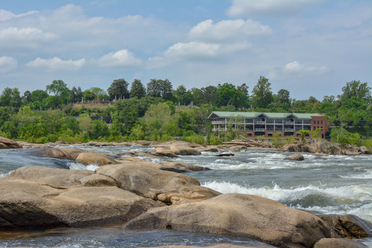 The James River in Richmond Virginia, as seen from Belle Isle park.