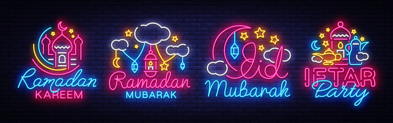 Ramadan Kareem collection neon signs vector. Leaflet design template concept of lines with colored crescent and mosque, iftar party. Islamic banner background design, neon symbol, modern trend design