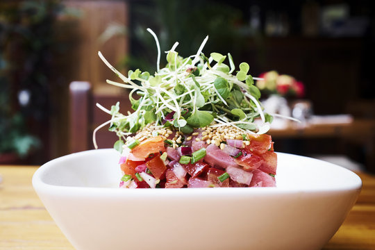 Close up of tuna salad served in bowl