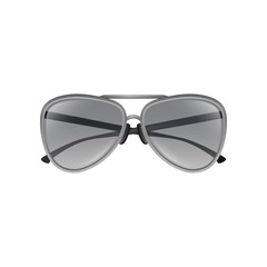 Aviator sunglasses with gray tinted lenses, thin metal frame and double bridge. Stylish unisex eyewear. Colorful flat vector design