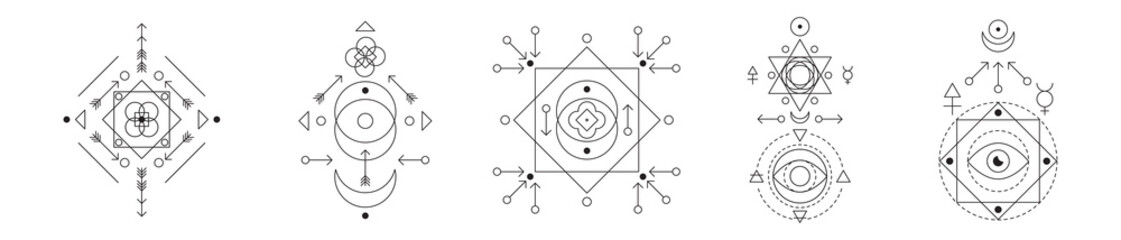 Symbol of alchemy and sacred geometry set. Linear character illustration collection for lines tattoo on the white isolated background.