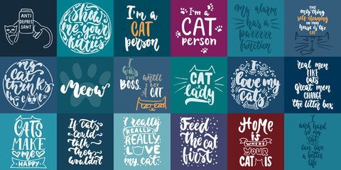 Hand drawn lettering greeting cards collections about cats isolated on the white background. Fun brush ink vector calligraphy illustrations set for banners, poster design.