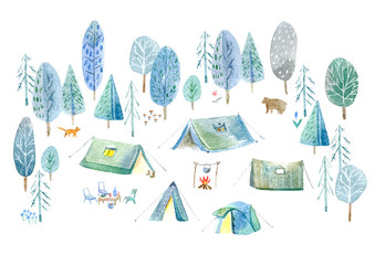 Camping in the woods.Tent, trees, bonfire, plants,fox,bear and floral.Landscape tourism.Watercolor hand drawn illustration.White background.