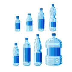 Plastic bottles set on white background.