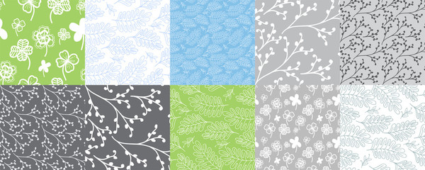 Set of 10 seamless patterns with leaves and branches. Repeated graphic design for textile, background, greeting cards.