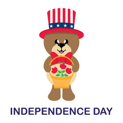 4 july cartoon cute bear in hat with basket and flowers with text
