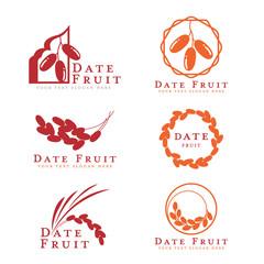 Red and orange Date palm fruit logo sign vector set design