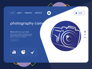 photography camera Landing page website template design