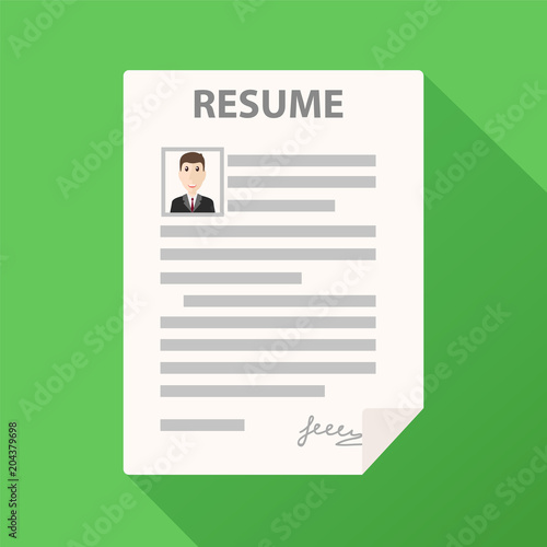 Resume form icon on green background with long shadow, cv