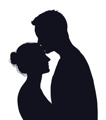Vector silhouette of happy couple isolated on white background
