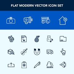 Modern, simple vector icon set with trend, truck, magnetic, sign, vehicle, weapon, hand, notebook, science, list, music, vitamin, power, grenade, paper, musical, explosion, war, pole, file, bomb icons