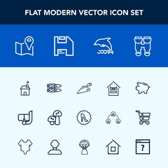 Modern, simple vector icon set with horizontal, road, view, nature, bank, estate, bullet, elegance, military, summer, optical, sea, money, fashion, vision, pin, edible, frame, store, shovel, map icons
