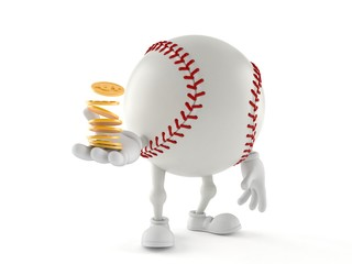 Baseball character with stack of coins