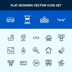 Modern, simple vector icon set with store, atm, basket, photo, machine, optical, summer, finance, account, boxing, control, palm, glove, remote, skateboard, eye, skate, television, eyeglasses icons