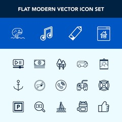 Modern, simple vector icon set with interface, tree, food, button, bus, call, nautical, sea, property, estate, video, wheel, left, move, fish, frame, forest, direction, tobacco, ring, picture icons