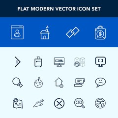Modern, simple vector icon set with sale, medicine, apartment, house, laboratory, price, luggage, link, moon, technology, arrow, equipment, computer, hyperlink, cardboard, web, tool, home, bag icons