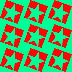 Decorative pentagonal star in a green - red colors