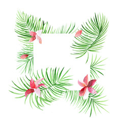 Tropical green border with palm leaves and flowers. Exotic tree foliage made in watercolor style with place for your text. Jungle design template for banner or poster.