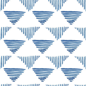 Blue lines in triangle form. Watercolor seamless pattern