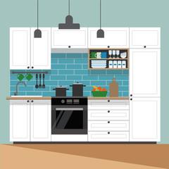 Modern kitchen interior - vector illustration in flat style