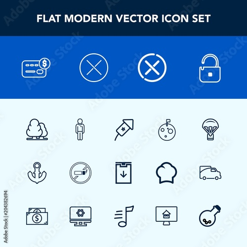 Modern, simple vector icon set with cigarette, event, no