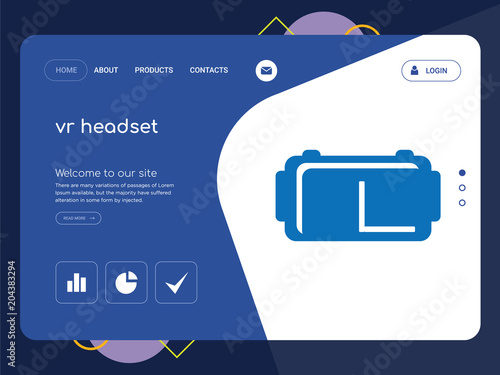 vr headset landing page website template design stock image and