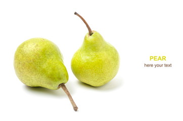 Two pears on white background.Fruits, ripe and healthy.