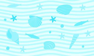 海中の貝や魚のイラスト