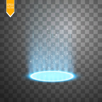 Magic portal of fantasy. Futuristic teleport. Light effect. Light rays of the night scene and sparks on a transparent background. Empty light effect of the podium.