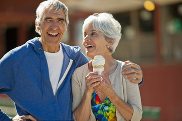 Portrait of a smiling senior couple having fun while on vacation together.
