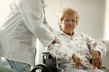Portrait of a happy elderly woman being assisted by a female doctor while sitting in a wheelchair.