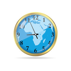 Combination of golden clock and world map