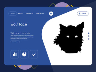 wolf face Landing page website template design