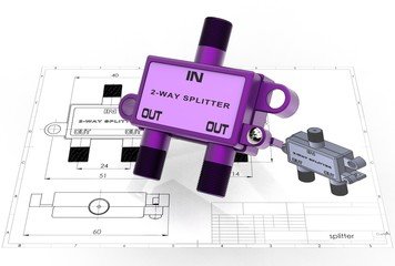 3d illustration of TV cable splitter above engineering drawing