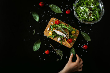 Organic vegetables with fresh grilled meat on vintage background, top view, banner. Background layout with free text space.