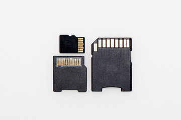 Memory cards on a white background