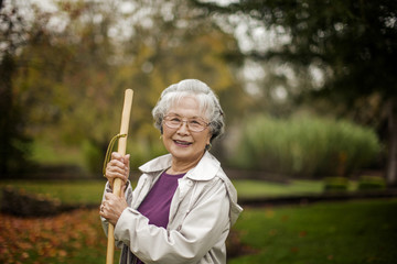 Portrait of a smiling senior woman at the park.